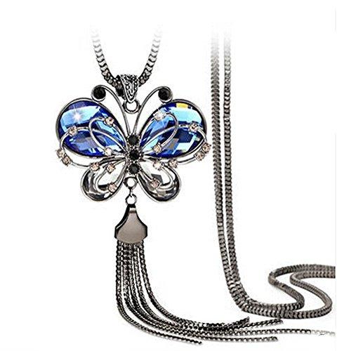 Frauen Kostüm-Kleidung Schmetterlings-Art-Zubehör lange Halskette (Kostüm Schmuck Armbänder Uk)