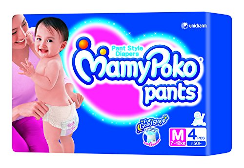 Mamy Poko pant Style Medium Size Diapers (4 Count)  available at amazon for Rs.45