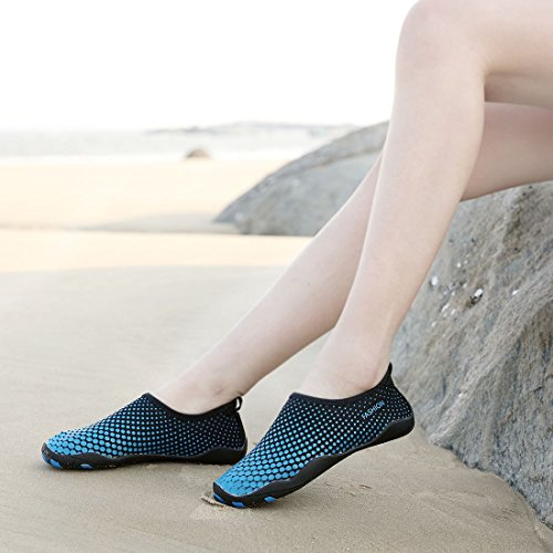 Sixspace Unisex Strandschuhe Aquaschuhe Schwimmschuhe Badeschuhe Wasserschuhe Surfschuhe mit Rutschfeste Sohlen für Damen Herren Blau