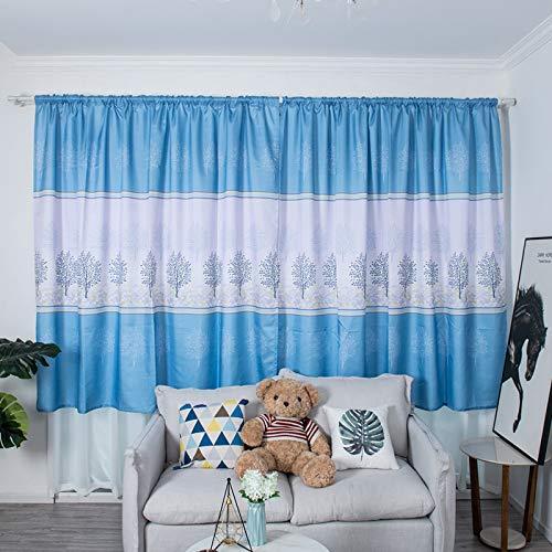 TianranRT★ tulle cortina di stoffa tenda unica integrata con asta 200x100 cm, tessili per la casa tenda farfalla ricamo ventilatore filato soggiorno camera da letto balcone,blu