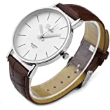 JS Direct 1x Fashion Dalas Men Women Simple Stlye Big 3 Hand PU Leather Quartz Wrist Watch, Brown