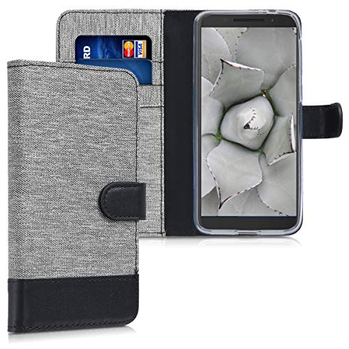 kwmobile Alcatel 3 / 3L (2018) Hülle - Kunstleder Wallet Case für Alcatel 3 / 3L (2018) mit Kartenfächern & Stand
