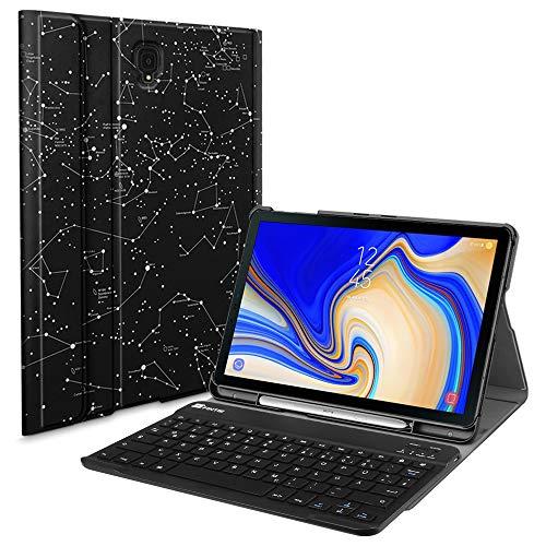 Fintie Tastatur Hülle für Samsung Galaxy Tab S4 T830 / T835 (10.5 Zoll) 2018 Tablet-PC - Ultradünn Schutzhülle mit magnetisch Abnehmbarer drahtloser Deutscher Bluetooth Tastatur, Sternbild - Deckt Galaxy S4 Samsung Tablet