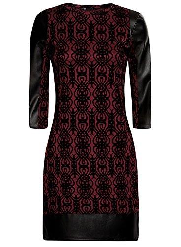 oodji Ultra Damen Kleid mit Flock-Druck und Lederimitat-Besatz Rot (4929O)
