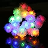 HOPESOOKY 50 LED 8 Mode Puffer Ball Solar String Lights Multi color for Outdoor Garden Path,Party,Bedroom Yard...