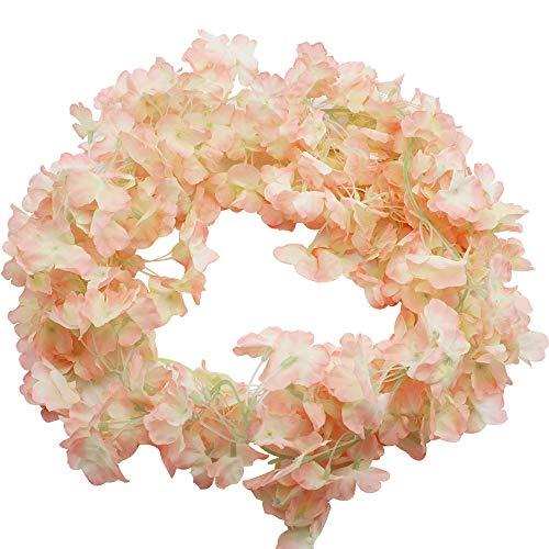 Bluexp 2 pezzi 180cm artificiali ghirlanda di fiori cherry blossom hanging vine sakura rattan garland fiori da appendere ivy vine natale recinto del giardino wedding party decorazione champagne