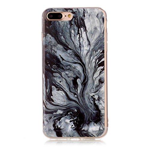 iPhone 7 Plus Hülle Marmor, iPhone 7 Plus Marble Case,iPhone 7 Plus Weich Silikon Handyhülle,Lifetrut Marmor Design Soft Rückseite Stoßstange TPU Gummi Silikon Skin Tasche für iPhone 7 Plus [Grün] E206-Tinte