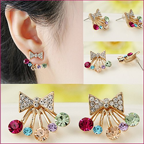 ITS - Women Fashion Bowknot Colorful Crystal Rhinestone Ear Stud Double Sided...