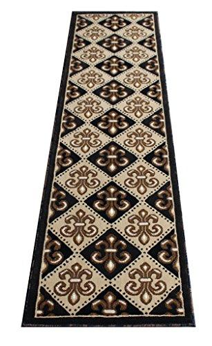 Brown Ivory-teppich (Masada Rugs Fleur de Lis Arealteppich braun französisch 2 Feet x 7 Feet Brown beige Ivory Cream Black tan)
