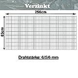 Gittermatte Doppelstabmatte Verzinkt/Höhen 83cm - 203cm x Breite 250cm/Drahtstärke 6/5/6mm/Maschenweite 50 x 200mm/Wählen Sie die Größe (Verzinkt, 83cm)