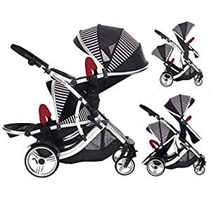 Kids Kargo Double Twin Tandem Pushchair. Duellette 21 BS Suitable for newborn when used with car seats or Twins from 6 months. Stroller by Kids Kargo (Oxford Stripe)   2