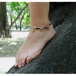Tobillera para mujer con abalorios de la India tamaño ajustable.