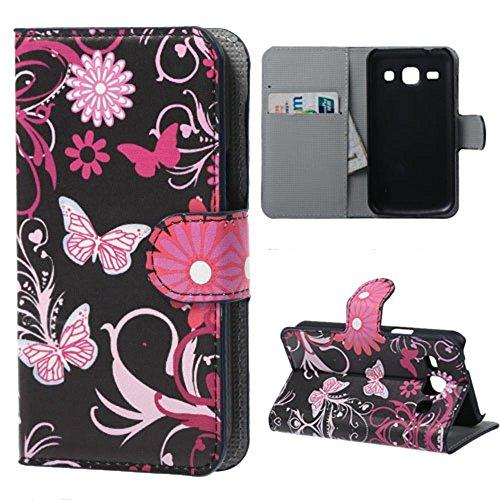 Housse Samsung Core Plus,Étui à Rabat Coque en PU Cuir Étui Pour Samsung Galaxy Core Plus (GT-G3500 / SM-G350 / G3502) Case Cover Portefeuille Housse de Protection Protecteur (Papillon rose)