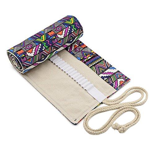 Hipiwe Tela Matita Wrap Astuccio da 72 Matite Accessori Roll Multiuso Sacchetto per Ufficio Scolastico Art (NO Pencils inclusi)