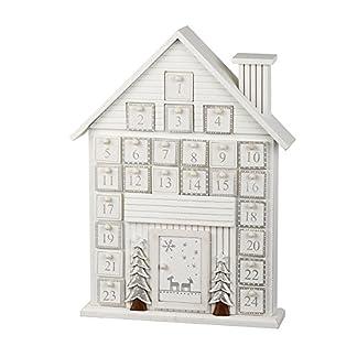 Calendario de adviento de madera blanca