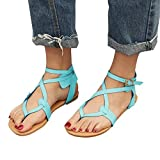 VJGOAL Damen Sandalen, Damen Mode Round Toe Atmungsaktive Lace-up Strand Sandalen Rom Casual Flache Sommerschuhe (43 EU, Blau)