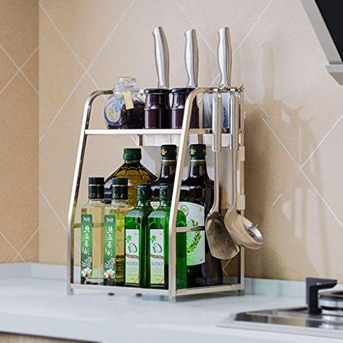 Storage rack. porta spezie, portaoggetti da cucina, porta coltello in acciaio inox 304 portaoggetti da cucina porta spezie multi-funzione (colore : a, dimensioni : 42 * 30cm)