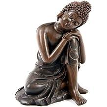 Efecto de madera grande de Buda 14cm estilo B Cabeza sobre rodilla de la Estatua
