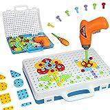 Mango Town Mosaik Steckspiele mit Akkuschrauber Kinder Montage Spielzeug Werkzeug DIY Kreatives Spielzeug Bauen für Kinder Mädchen Jungen ab 3 4 5 6 7 8 Jahre 144 Stücke
