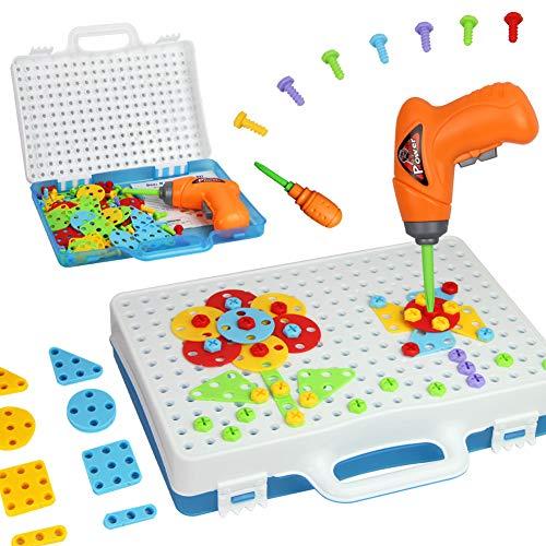 Mango Town Giocattoli di Costruzione Puzzle con Avvitatore Giocattolo Chiodini Gioco Bambini Mosaico Costruzioni Giocattoli Creativi Regalo per Bambino Ragazzi Ragazze 3 4 5 6 7 8 9 Anni 144 Pezzi