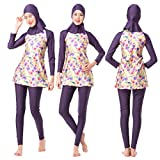 Swallowuk Damen Muslim Abaya Dubai Muslimische Islamische Burkini Badeanzug Bademode Badebekleidung Schwimmanzug Swimsuit Kurzarm Arabische Indien Türkische Bikini Set (XL, Lila)