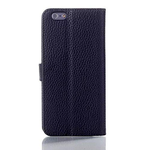 """inShang iPhone6 Coque 4.7"""" Housse de Protection Etui pour Apple iPhone 6 4.7 Inch, le style Folio cuir PU de premiere qualite, + Qualite Pens Haute Stylet capacitif A BLACK"""