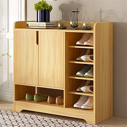 Zapatero vertical, Zapatero de Madera, Gabinete de zapatos de madera moderna con 2 puertas y estantes...