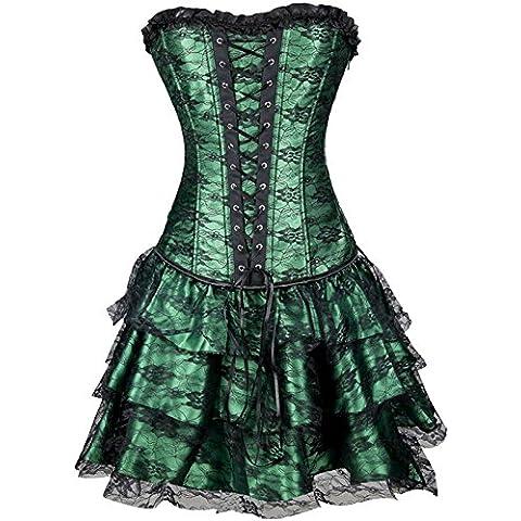Europa y la Real Corsé Top vestido MS T pantalones de tres piezas encaje corsé corpiño, verde,