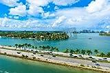 Alu-Dibond-Bild 110 x 70 cm:Miami Beach. Aerial view of Rivers and ship canal. Tropical coast of Florida, USA., Bild auf Alu-Dibond
