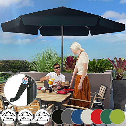 Sonnenschirm in Ø 2,5m / Ø 3m / Ø 3,5m | in Farbwahl, mit Krempe und Kurbel, aus Stahlrohr | Marktschirm, Gartenschirm, Terrassenschirm, Ampelschirm, Strandschirm, Sonnenschutz für Balkon, Garten, Terrasse (3m, Navy)