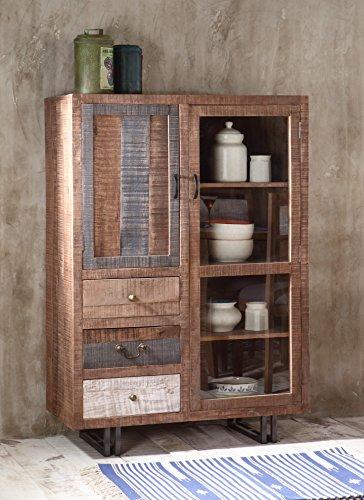 The Wood Times Kommode Highboard Schrank Massiv Vintage Look New Rustic Mangoholz, BxHxT 95x135x45 cm - 5