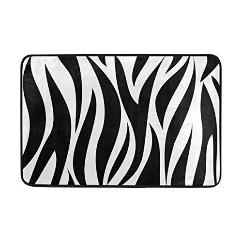 Einfach Zebra (FFY Go Badteppich, Zebra Muster Print Rutschfeste Antischimmel-Einfach Dry Fußmatte Teppich für Dusche Raum Badezimmer Tür Indoor Outdoor 58,4x 38,1cm)