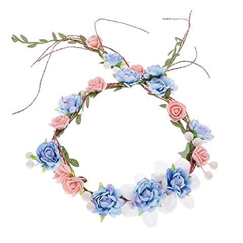 Fantaisie Fleurs Guirlande Bandeau Headband de Cheveux en Tissu et