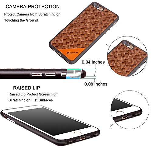 EKINHUI Case Cover Frosted Weaving Texture Back Cover Soft Ultra Thin Slim Shell Cover Case mit Galvanisierungsknopf für iPhone 7 Plus ( Color : Red ) Brown