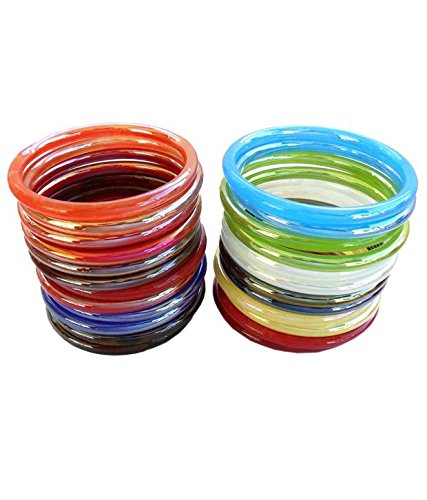 RCK Products Multicolor glass Bangle set Women/Girls(pack of 24)