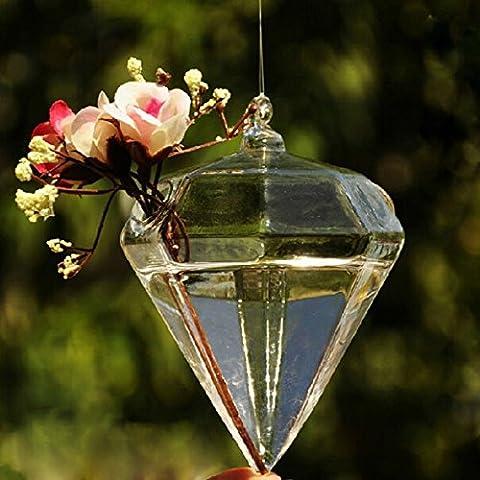 Kungfu Mall in vetro a forma di diamante, Vaso da piante Contenitore per coltivazione idroponica - Hanging Flower Vase