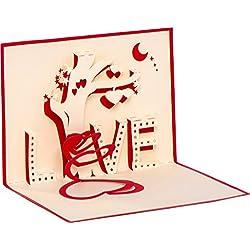 """Hochzeitskarte""""LOVE Tree"""" 3D Pop up, handgefertigt, Liebe, Herz, Glückwunschkarten, Karte zur Verlobung, Verlobungskarte, Hochzeitstag"""
