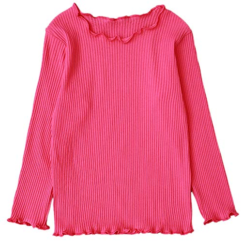 MRULIC Baby Girl Langarm Volltonfarbe Tops Shirts T-Shirt Lässiger Pullover(Pink,Höhe:105-110CM)