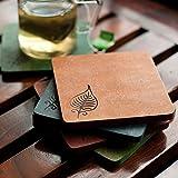 ExclusiveLane Multicoloured Elegant Leaf Engraved Wooden Coasters Set Of 5 -Coaster For Table Top Tableware