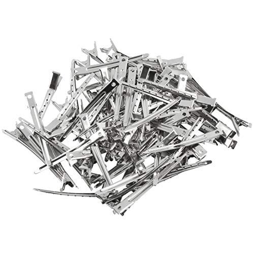 Andux Haarspangen Metall Rutschfeste Haarschnitte Sprungfeder Klemmen Ente Friseur Styling Salon Werkzeug 80 Stck DWJ-01