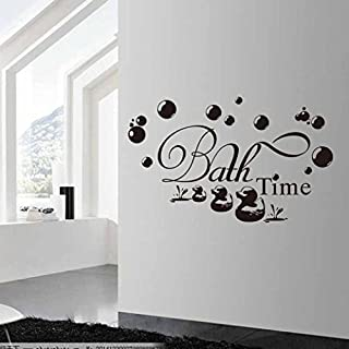 SMILEQ Lovely Quotes Bath Time Wall Sticker Bathroom Quote Wall Decal Bubbles Duck Home Decor (A)