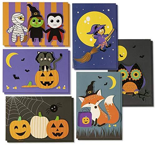 Halloween-Grußkarten - 24 Stück handgefertigte Halloween-Grußkarten mit 6 Designs für Trick-or-Treating, Partygeschenke, inklusive Innengrußnachrichten und orangefarbenen Umschlägen, 10,2 x 15,2 cm