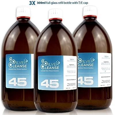 SilverCleanse Colloidal Silver 45ppm Triple Pack (3x 300ml Full Glass Bottles & T/E Cap)