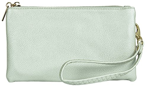 Big Handbag Shop, Borsetta da polso donna Style 2 - Metallic Silver