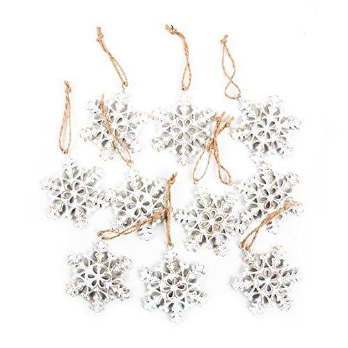 10pieza Navidad Copo de nieve colgante estrellas de metal blanco beige natural...