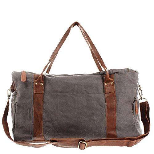 LECONI Reisetasche Damen Herren Canvas Handgepäck Leder Sporttasche groß Weekender Unisex 55x30x21cm LE2014-C Grau / Braun