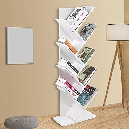 Zerone Bücherregale Weiss,Bookshelf Baum Bookshelf buchfach CD Regal modern harmlos stabiles...