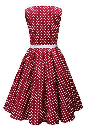 Black Butterfly 'Audrey' Vintage Polka-Dots Kleid im 50er-Jahre-Stil (Burgunderrot, EUR 42 - L) -