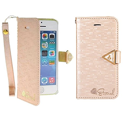 iPhone 5C Case - Flip Cover Case Étui à rabat Pu Cuir Portefeuille Housse Pour iPhone 5C Coque Etui de Protection Protecteur (Hot Rose) Rose