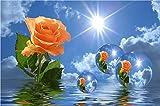 CNLSZM Rund Bohrer 5D Diamant Malerei Diamant Mosaik Umwelt Handwerk Voller Diamanten Stickerei Wasserball Rose Wohnkultur Geschenk 45x60cm
